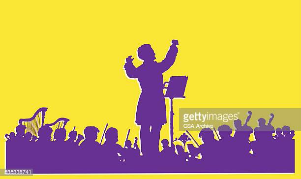 orchestra in shadow - orchestra stock illustrations, clip art, cartoons, & icons