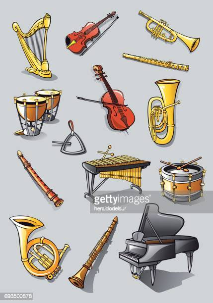 orchestra instruments - musical instrument stock illustrations, clip art, cartoons, & icons