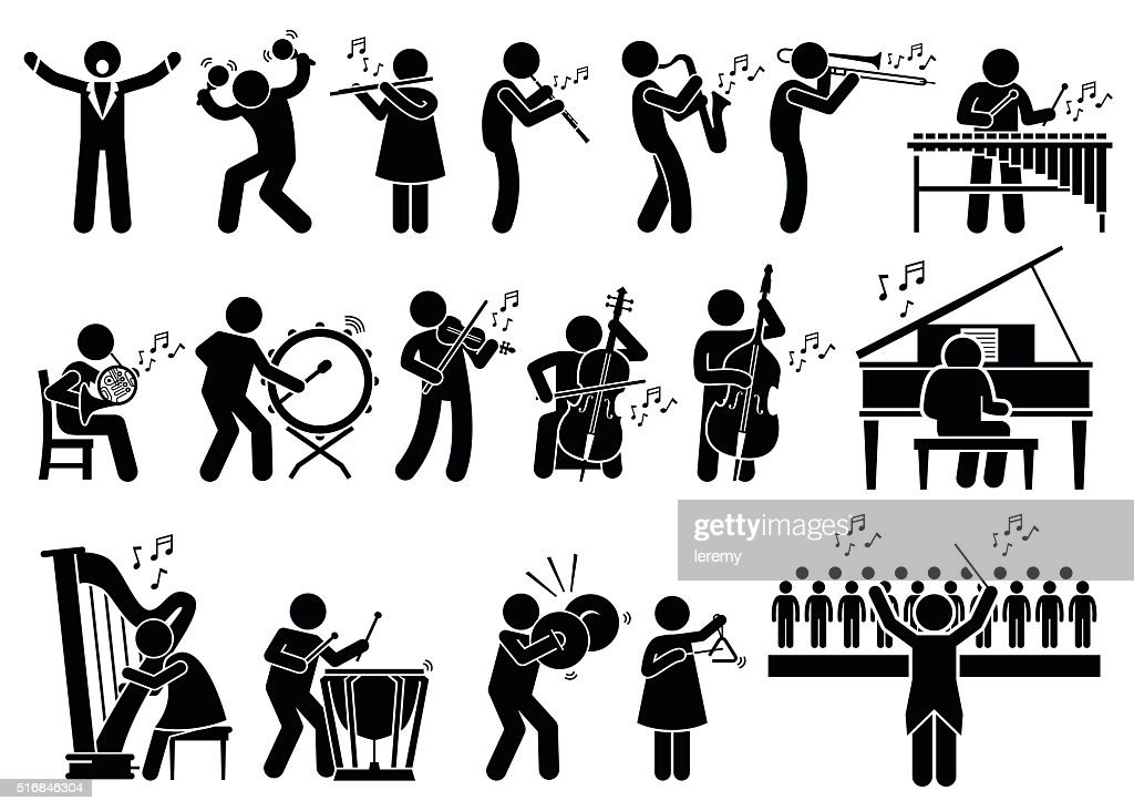 Orchestra Symphony Musicians with Musical Instruments Illustrations