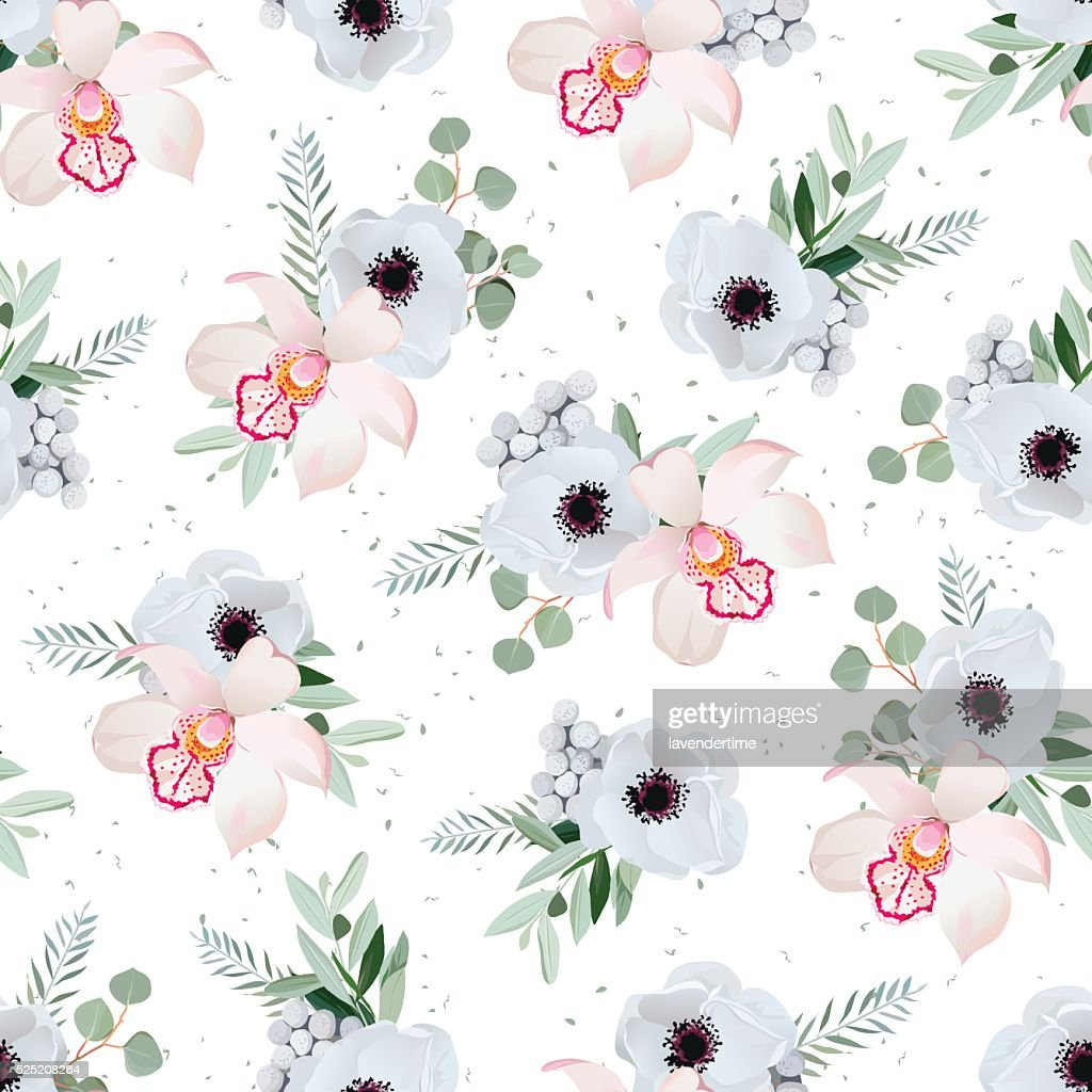Orchid, anemones, brunia flowers and eucaliptis leaves seamless vector pattern
