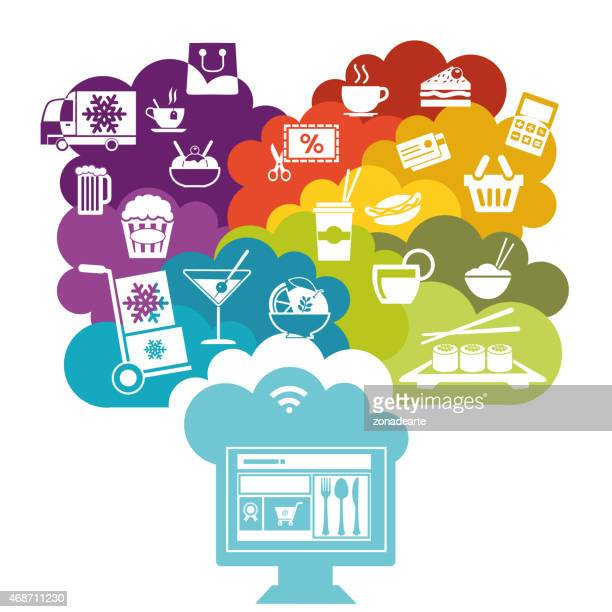 ordering food online - ordering stock illustrations, clip art, cartoons, & icons