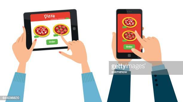 ordering pizza online - ordering stock illustrations, clip art, cartoons, & icons