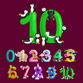 ordinal number 10 for teaching children counting ten penguins with the ability to calculate amount animals abc alphabet kindergarten books or elementary school posters collection vector illustration