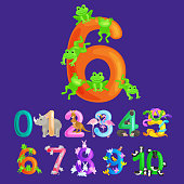 ordinal numbers six for teaching children counting 6 frogs with the ability to calculate amount animals abc alphabet kindergarten books or elementary school posters collection vector illustration