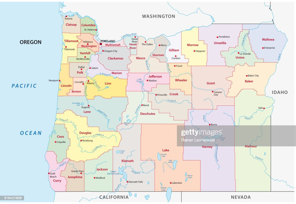 oregon administrative and political map