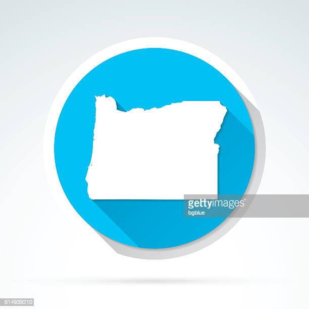 Oregon map icon, Flat Design, Long Shadow