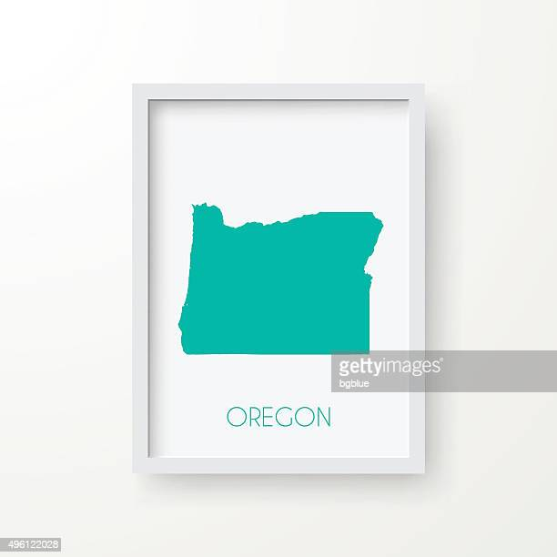 Oregon Map in Frame on White Background