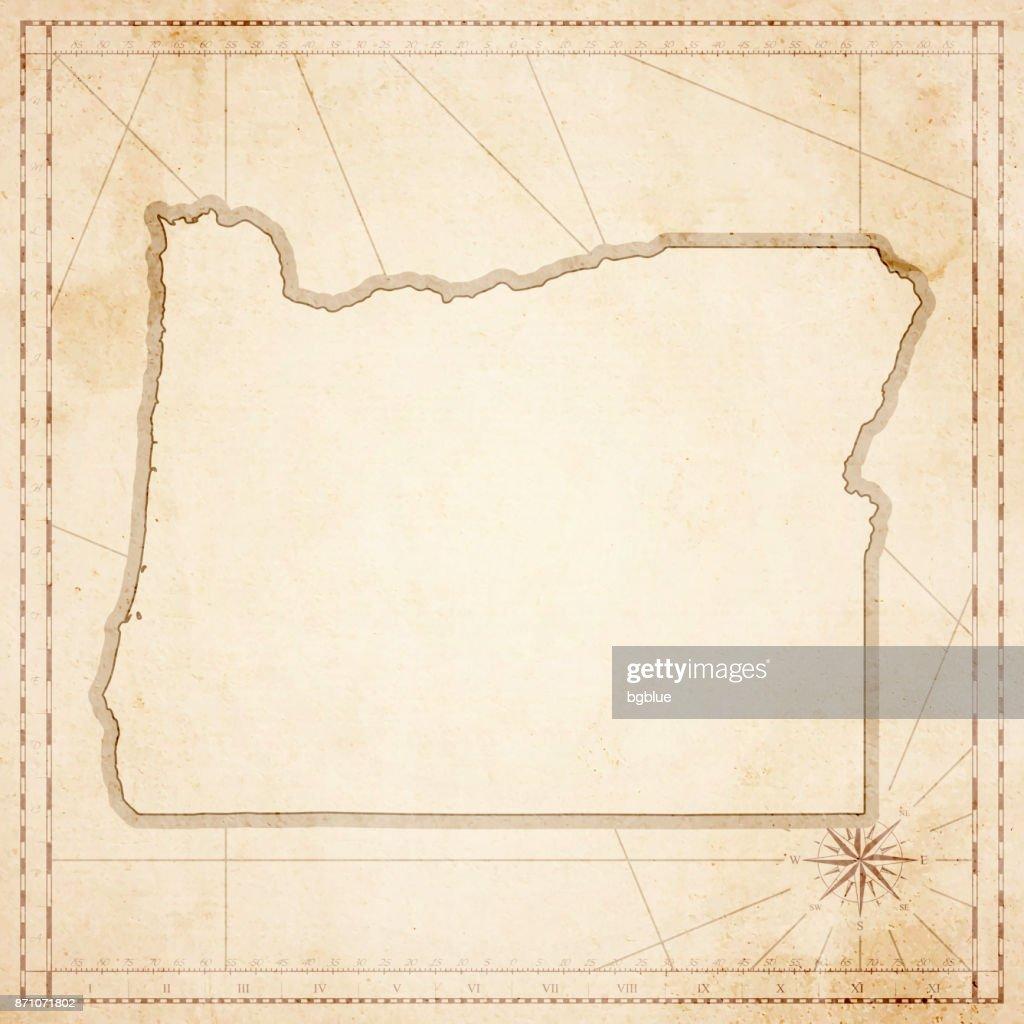 Vintage Oregon Map.Oregon Map In Retro Vintage Style Old Textured Paper Vector Art