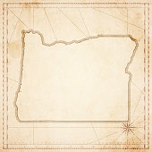 Oregon map in retro vintage style - old textured paper