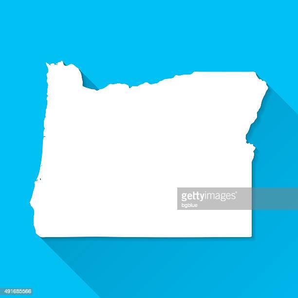 Oregon Map on Blue Background, Long Shadow, Flat Design