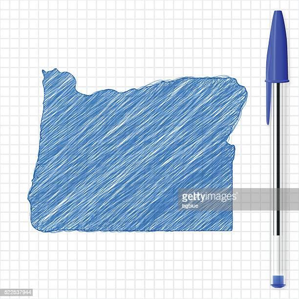 Oregon map sketch on grid paper, blue pen