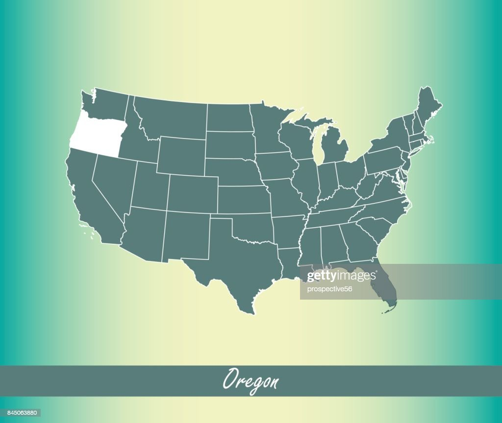 Oregon map vector outline illustration highlighted in United States map vector blue background