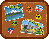 Oregon, Pennsylvania travel stickers with scenic attractions and retro text on vintage suitcase background