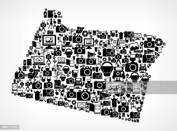 oregon photography black and white vector icons background - video editing stock illustrations, clip art, cartoons, & icons