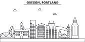 Oregon, Portland architecture line skyline illustration. Linear vector cityscape with famous landmarks, city sights, design icons. Landscape wtih editable strokes
