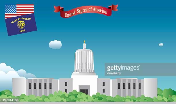 オレゴン州議事堂 - 首都点のイラスト素材/クリップアート素材/マンガ素材/アイコン素材