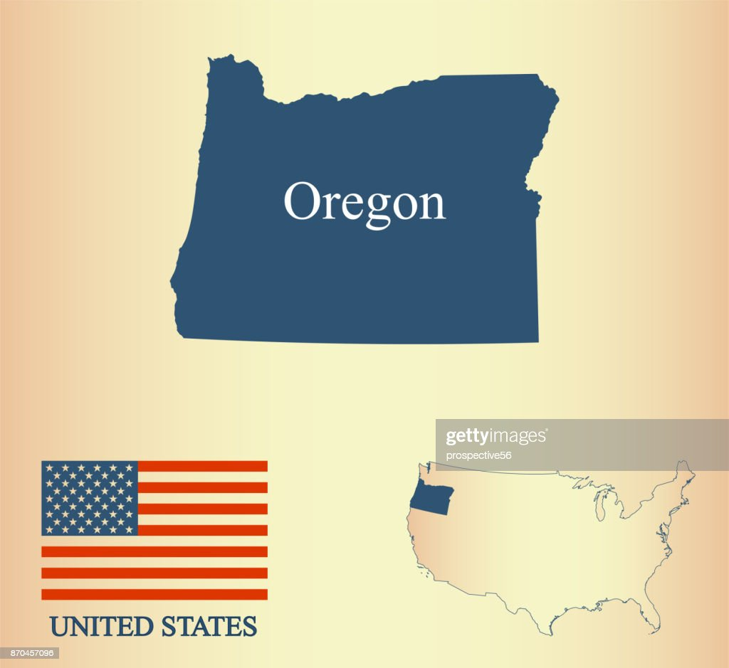 Oregon state of USA map vector outline illustartion and United States flag in a creative old paper background