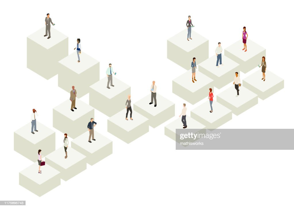 Org chart with people : stock illustration
