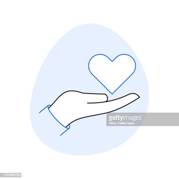 organ donation related line icon set. outline symbol icons - altruism stock illustrations