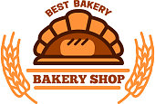 Organic bakery shop symbol with brick oven bread