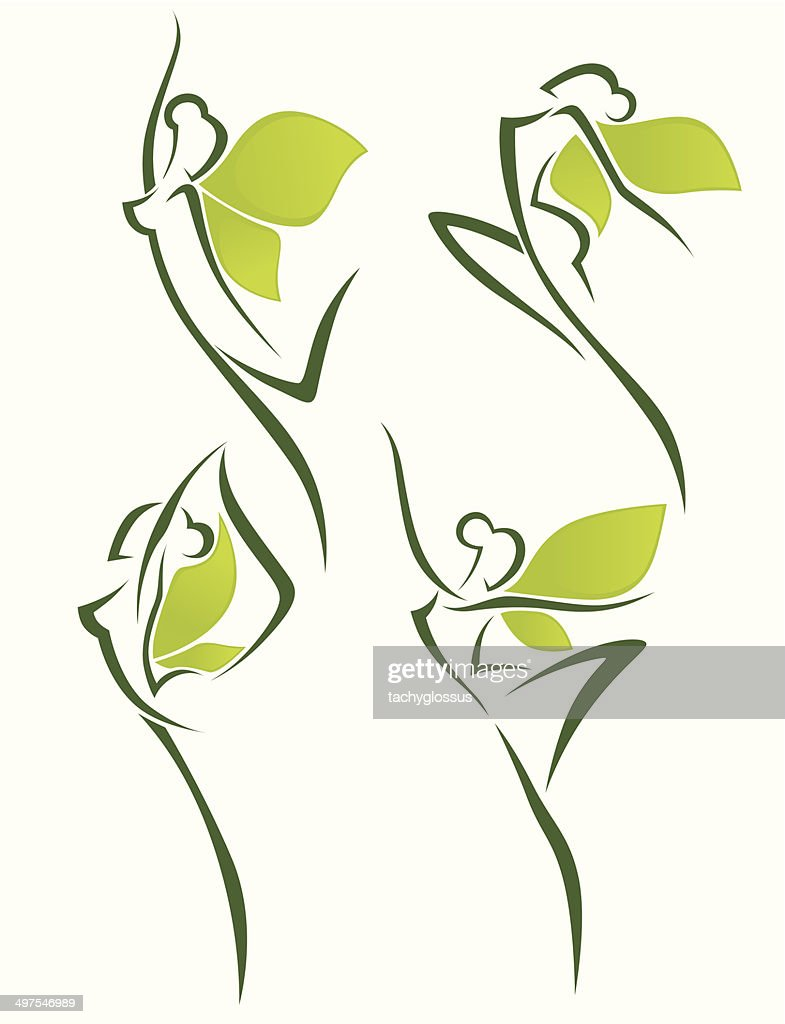 organic beauty, vector collection of abstract women in ballet pose