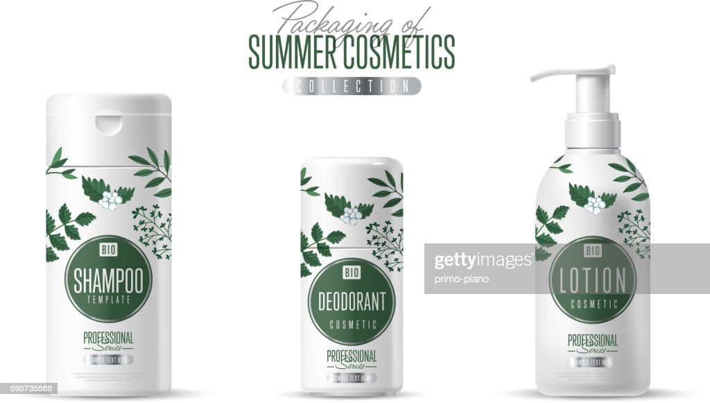 Organic cosmetic brand template packaging set
