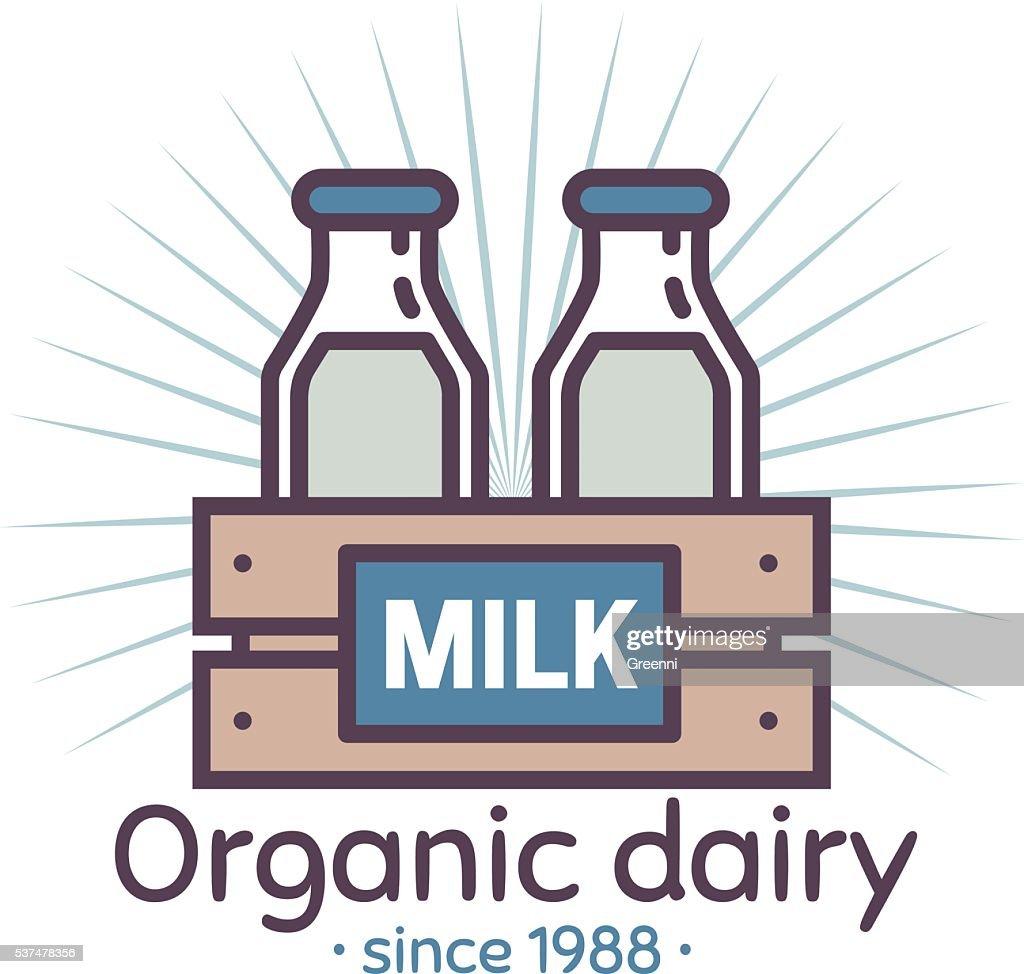 Organic dairy vector logo. Eco farm. Fresh milk