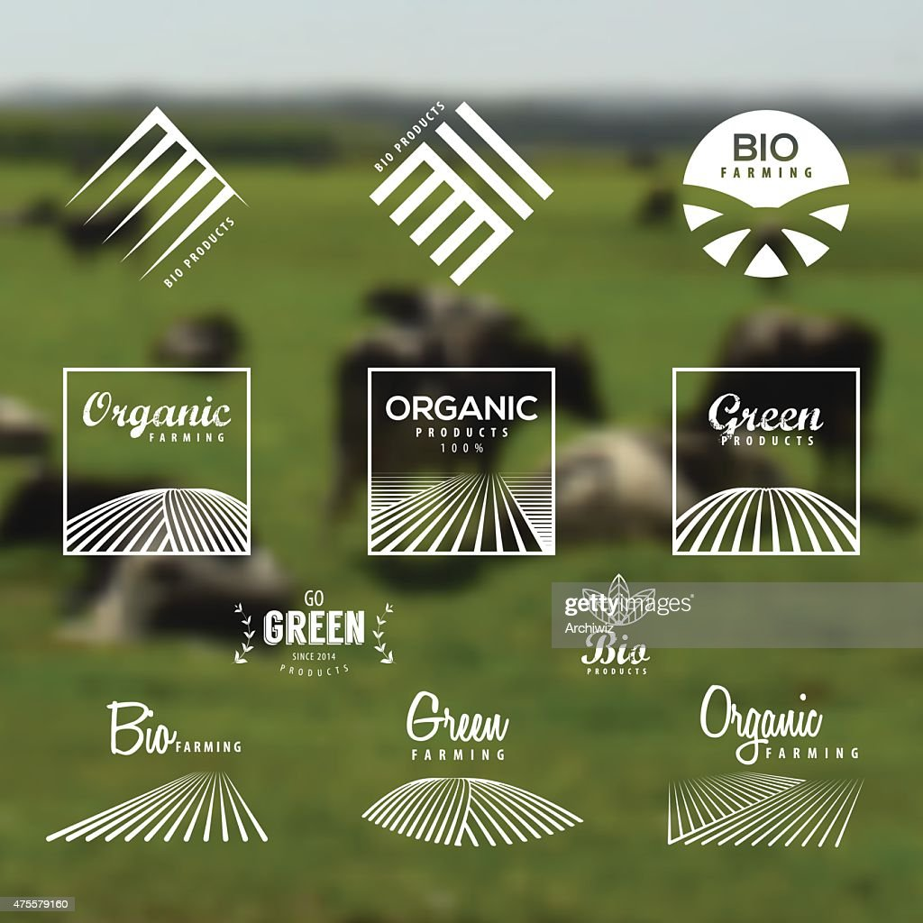 Organic, eco, bio, green labels and icons set.