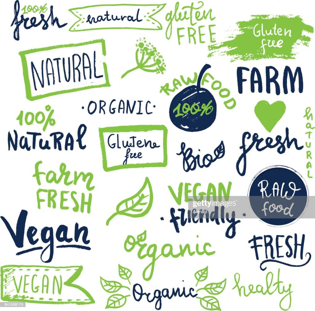 Organic ecology icons, labels and tags. Hand drawn grunge icon with raw, vegan lettering and signs