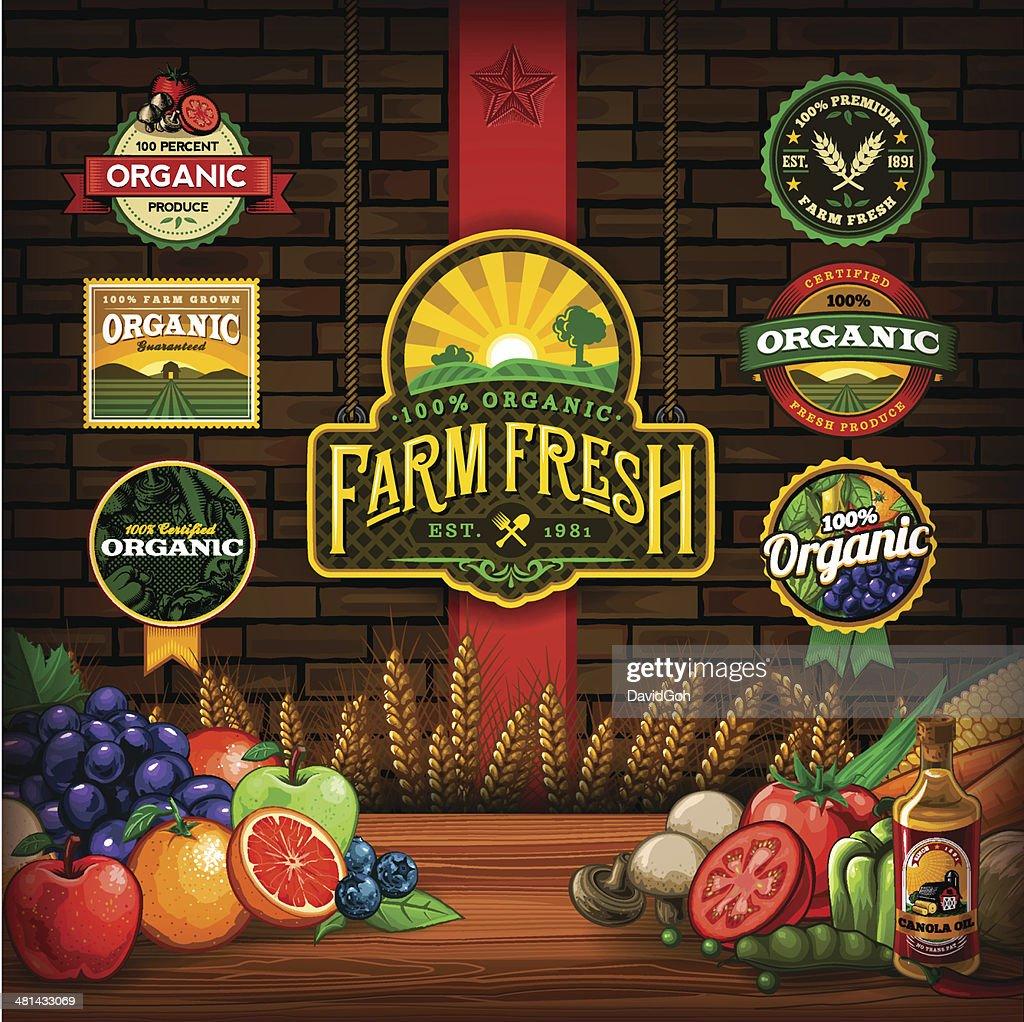 Organic Farm Fresh Design Elements : stock illustration
