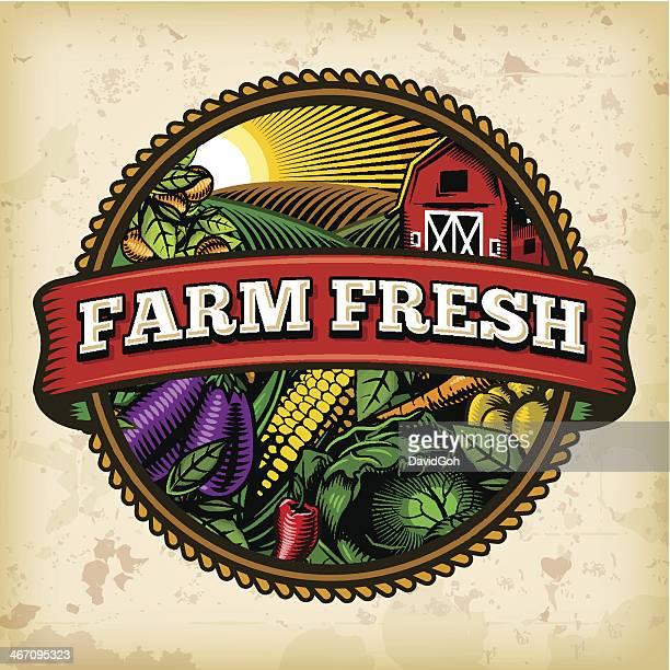organic farm fresh label 5 - freshness stock illustrations