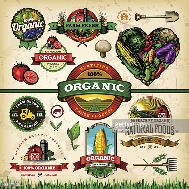 organic farm fresh label set 1 - corn stock illustrations, clip art, cartoons, & icons