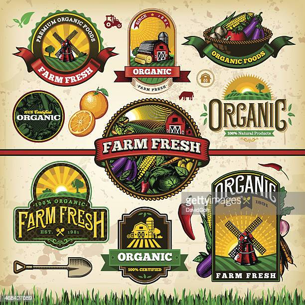 organic farm fresh label set 2 - tractor stock illustrations