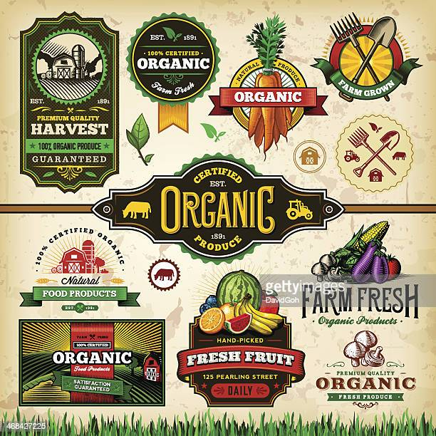 organic farm fresh label set 3 - organic stock illustrations, clip art, cartoons, & icons