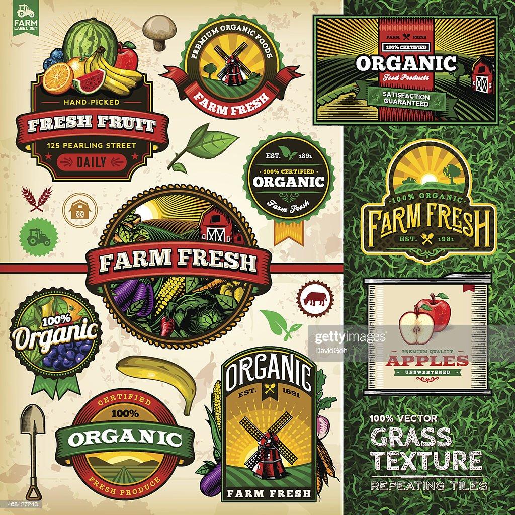 Organic Farm Fresh Label Set 4 : Stockillustraties