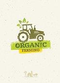 Organic Farming Eco Tractor Creative Vector Concept