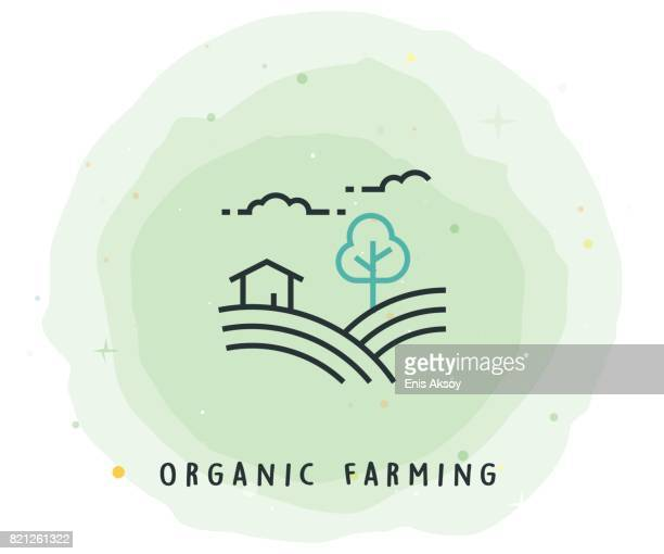 organic farming icon with watercolor patch - organic stock illustrations, clip art, cartoons, & icons
