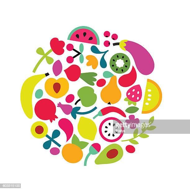 stockillustraties, clipart, cartoons en iconen met organic food concept. natural food vector illustration - nordic combined
