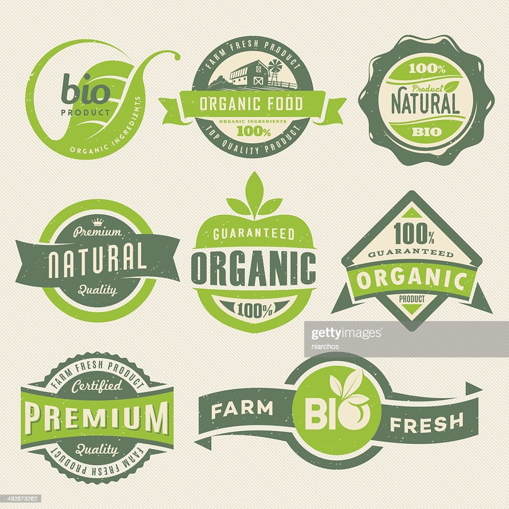 Organic Food Labels : stock illustration