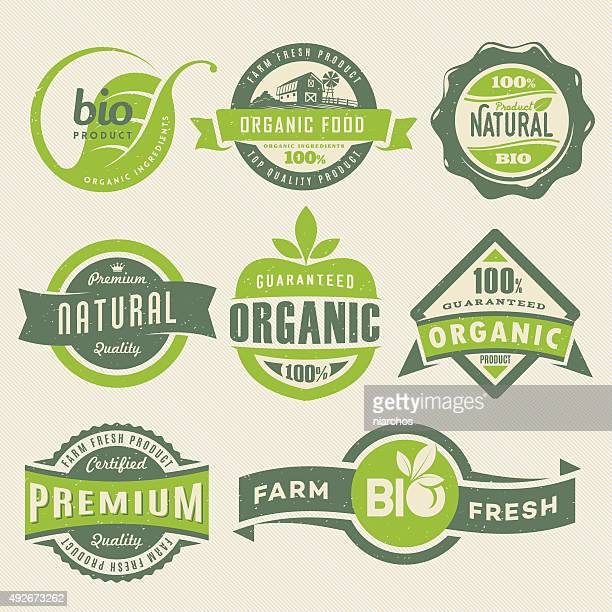 organic food labels - freshness stock illustrations