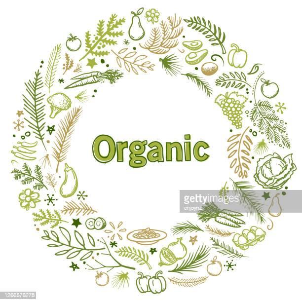 ilustraciones, imágenes clip art, dibujos animados e iconos de stock de ilustración del mercado de alimentos orgánicos - puesto de mercado