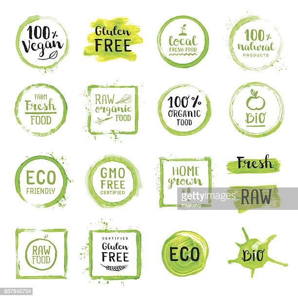 organic food painted green labels - organisch stock-grafiken, -clipart, -cartoons und -symbole