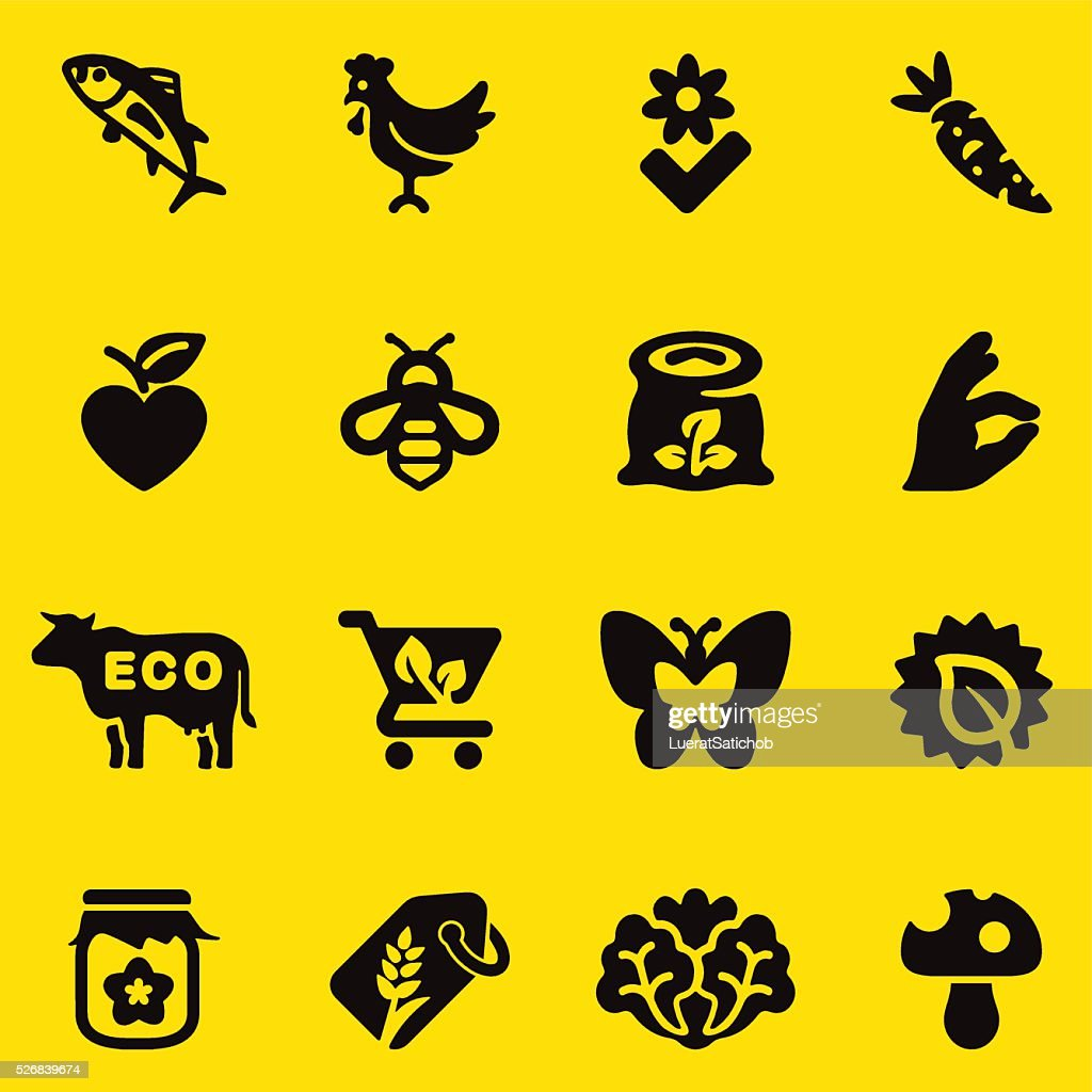 Organic Food Yellow Silhouette icons | EPS10