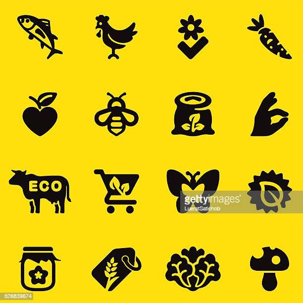 Silueta de iconos de comida orgánica amarillo/EPS10