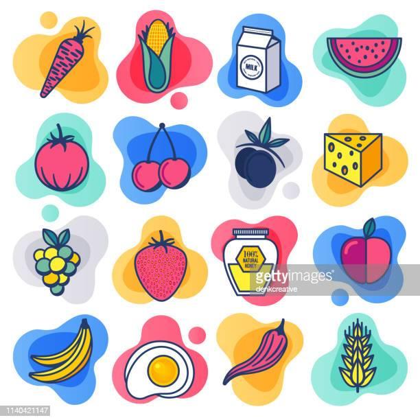 ilustrações, clipart, desenhos animados e ícones de frutas orgânicas e vegetais linha plana líquido estilo icon set vector - produto local
