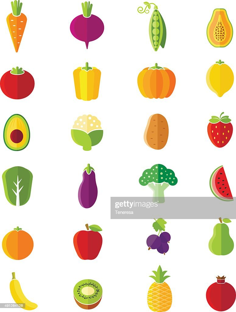 Organic fruits and vegetables flat style icons set