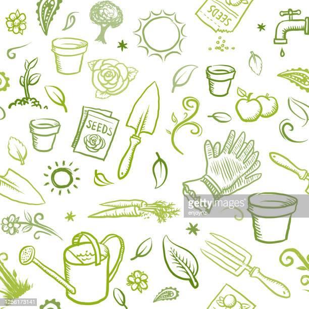 organic gardening icons - garden drawing stock illustrations