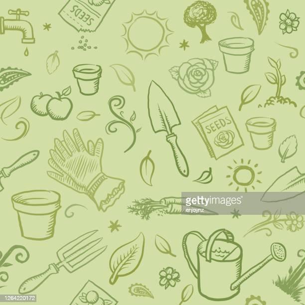 bio-garten-icons tapete - tapete stock-grafiken, -clipart, -cartoons und -symbole