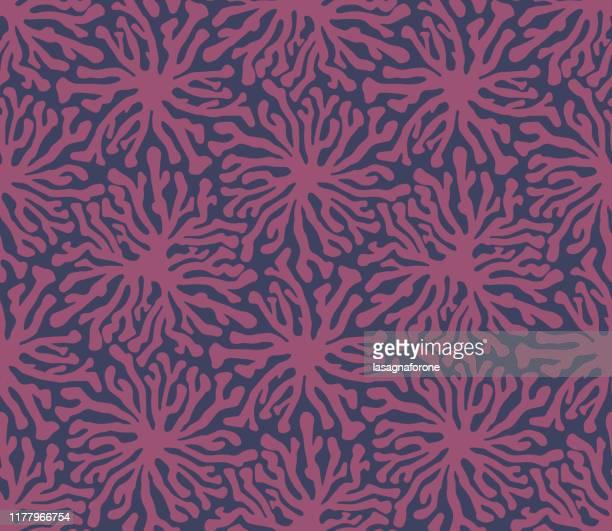 organic hand drawn seamless vector pattern - blossom stock illustrations