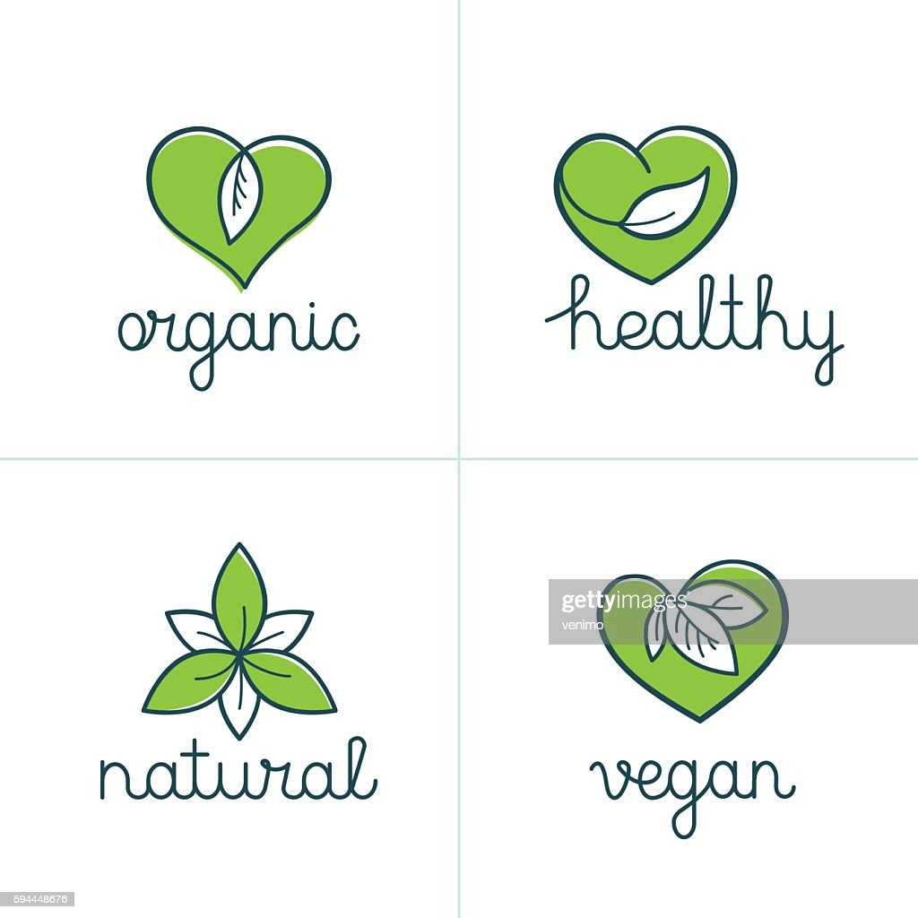 Organic, healthy and vegan badges - emblems for vegetarian food
